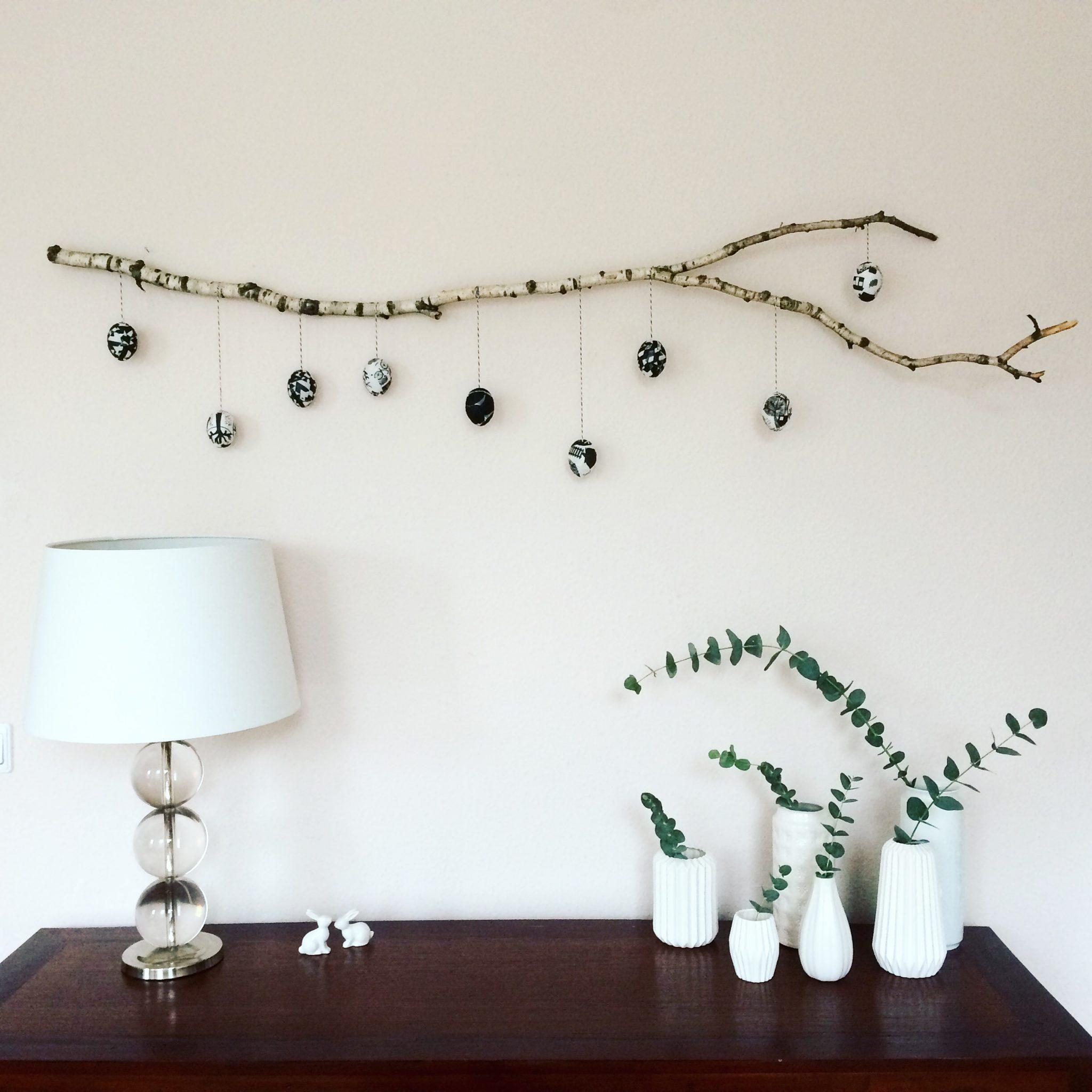 natur trifft monochrom diy osterdeko am birkenast sarahplusdrei. Black Bedroom Furniture Sets. Home Design Ideas