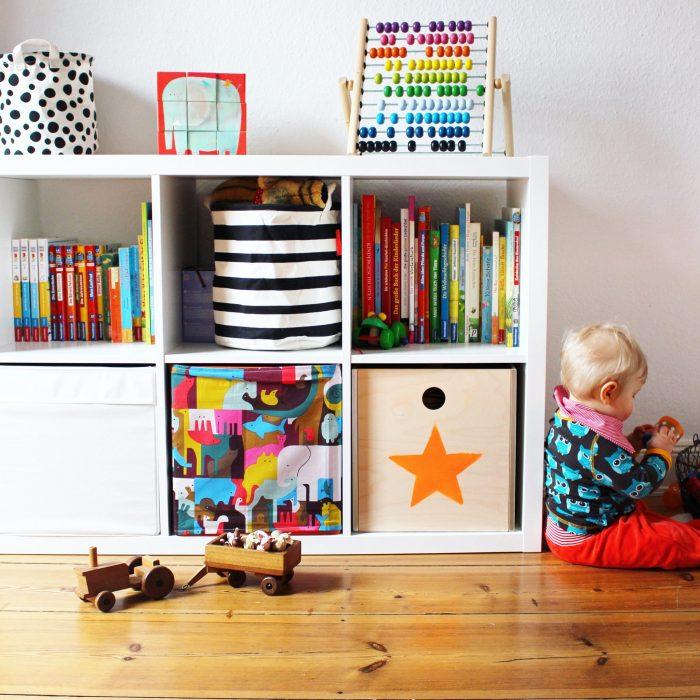Kinderzimmeraufbewahrung Ikea Expedit Spielkisten bunt
