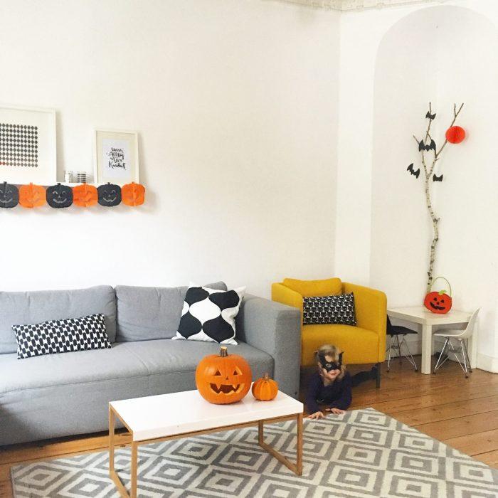 huhuuhhh einfache halloween party dekoration sarahplusdrei. Black Bedroom Furniture Sets. Home Design Ideas